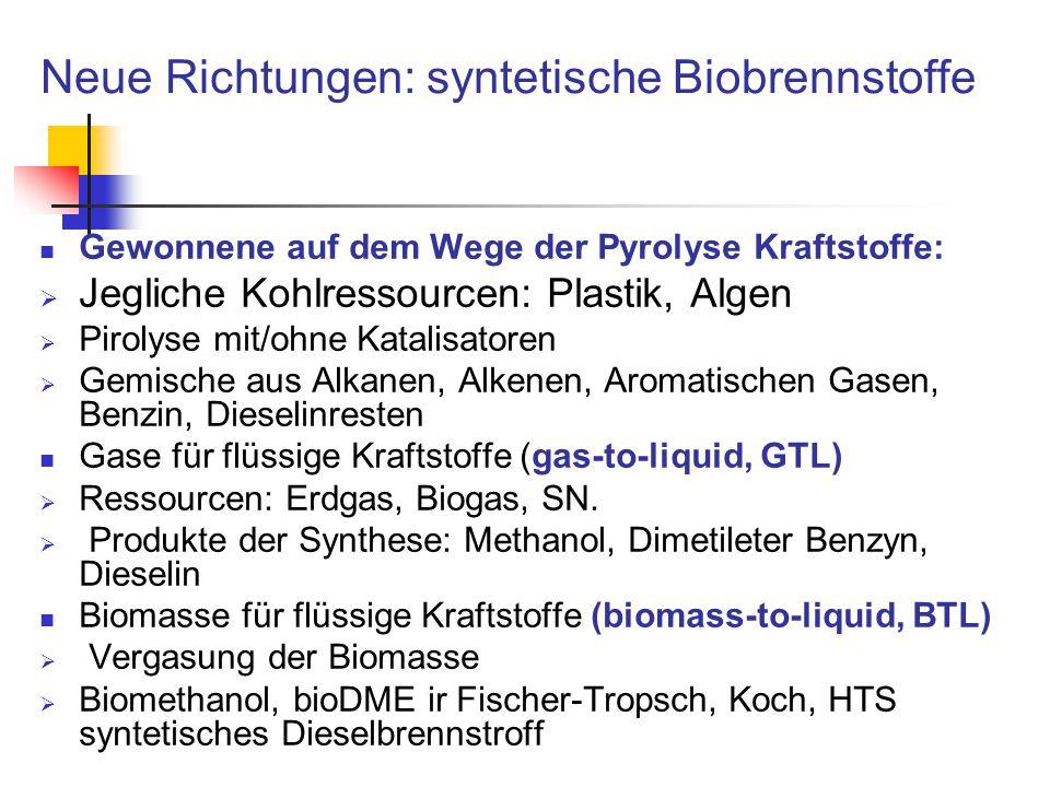 Neue Richtungen: syntetische Biobrennstoffe Gewonnene auf dem Wege der Pyrolyse Kraftstoffe:  Jegliche Kohlressourcen: Plastik, Algen  Pirolyse mit/