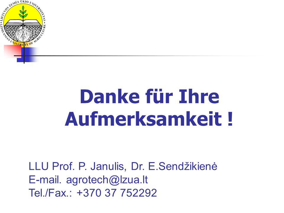 Danke für Ihre Aufmerksamkeit ! LLU Prof. P. Janulis, Dr. E.Sendžikienė E-mail. agrotech@lzua.lt Tel./Fax.: +370 37 752292