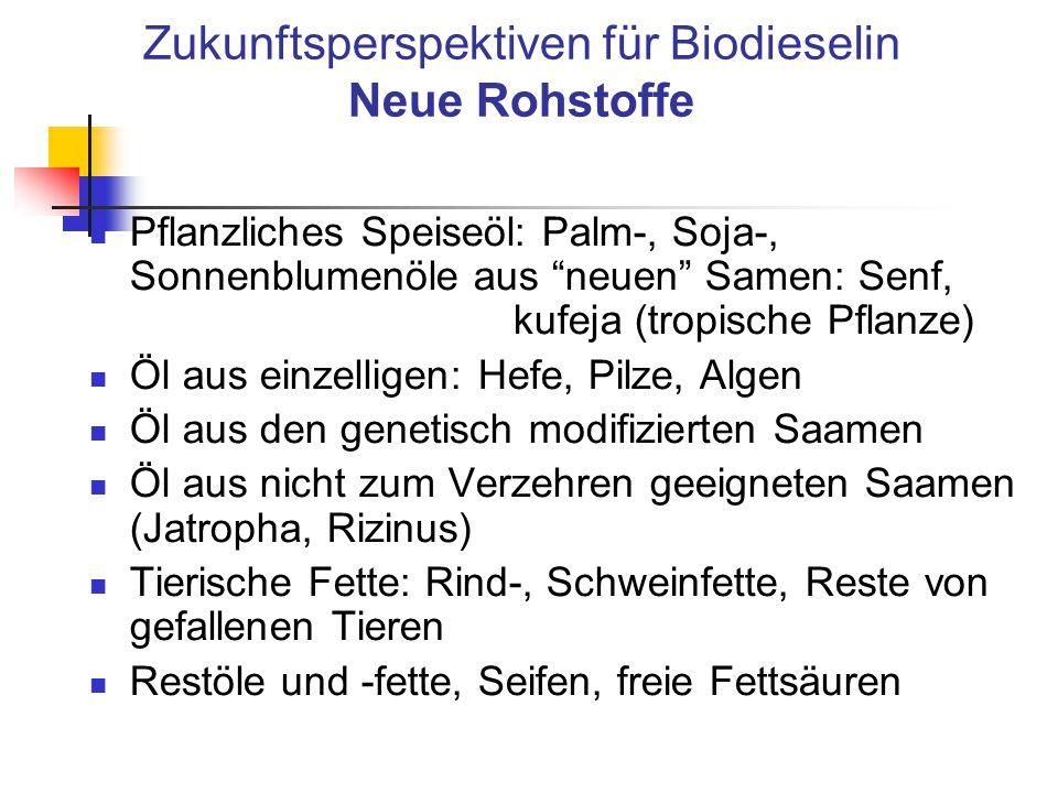 """Zukunftsperspektiven für Biodieselin Neue Rohstoffe Pflanzliches Speiseöl: Palm-, Soja-, Sonnenblumenöle aus """"neuen"""" Samen: Senf, kufeja (tropische Pf"""
