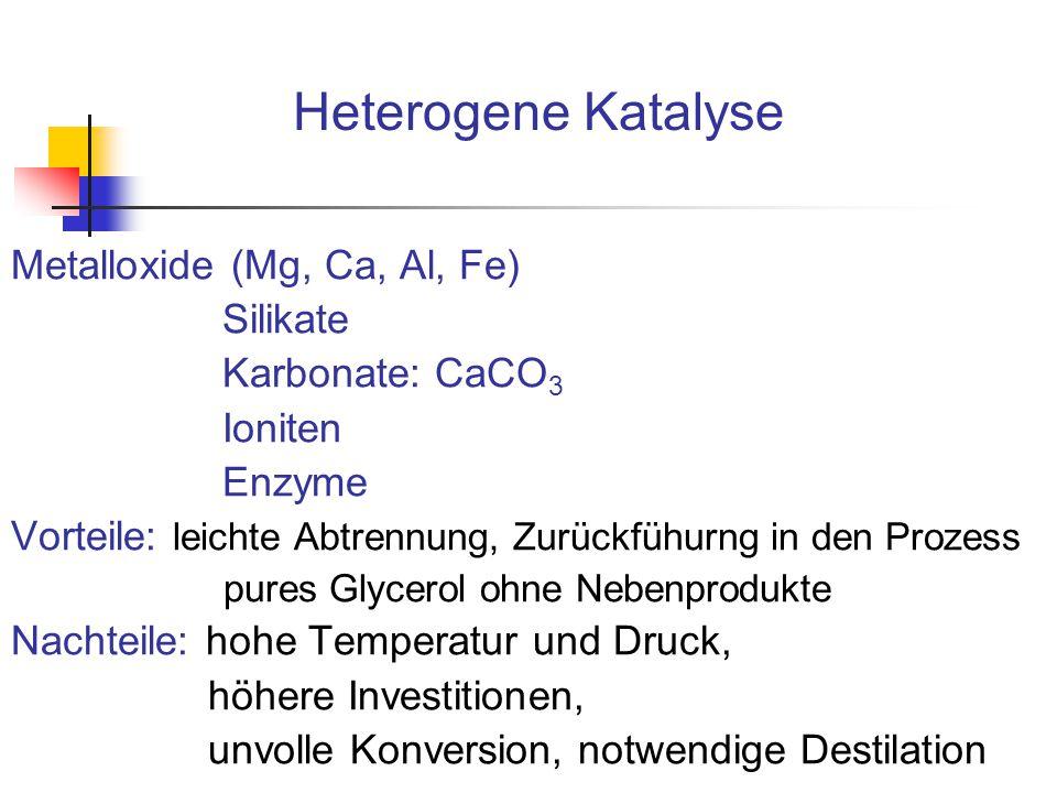 Heterogene Katalyse Metalloxide (Mg, Ca, Al, Fe) Silikate Karbonate: CaCO 3 Ioniten Enzyme Vorteile: leichte Abtrennung, Zurückfühurng in den Prozess
