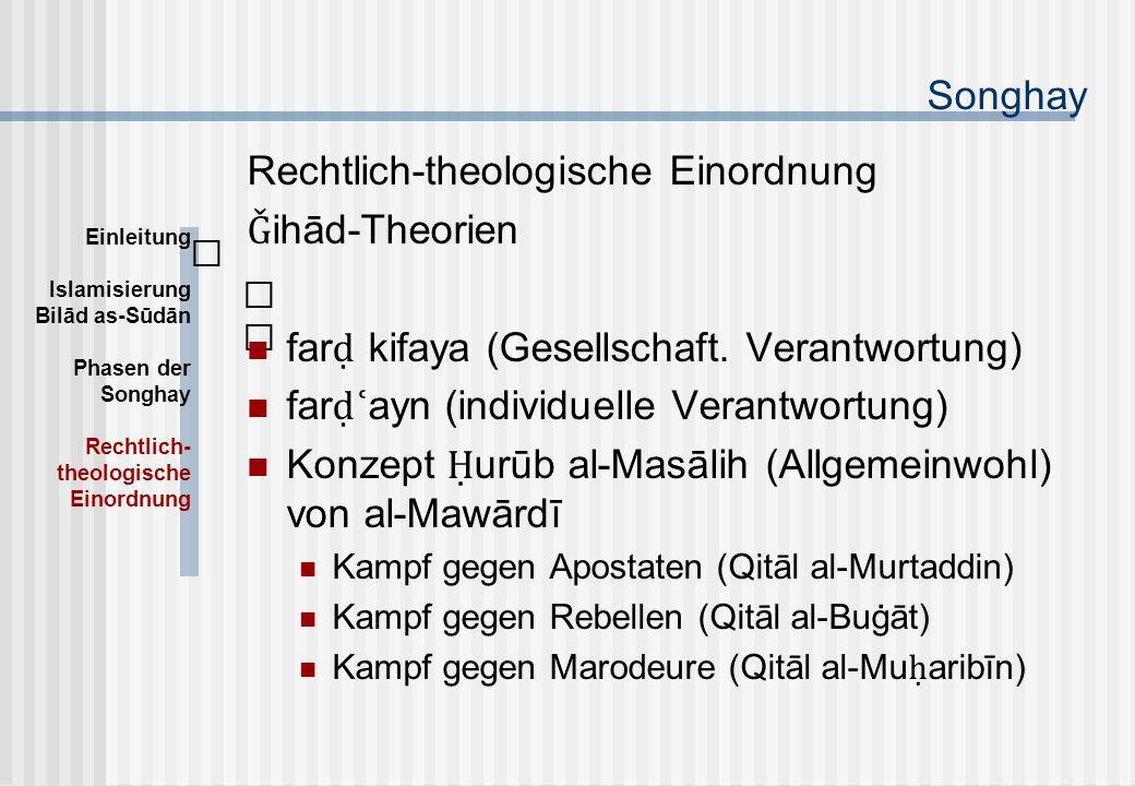 Songhay Rechtlich-theologische Einordnung Ǧ ihād-Theorien far ḍ kifaya (Gesellschaft.