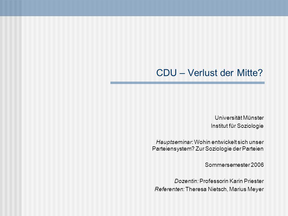 CDU – Verlust der Mitte? Universität Münster Institut für Soziologie Hauptseminar: Wohin entwickelt sich unser Parteiensystem? Zur Soziologie der Part