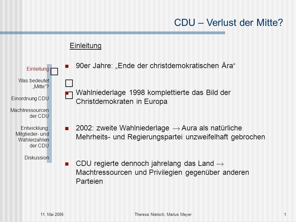 """CDU – Verlust der Mitte? 11. Mai 2006Theresa Nietsch, Marius Meyer1 Einleitung Was bedeutet """"Mitte""""? Einordnung CDU Machtressourcen der CDU Entwicklun"""