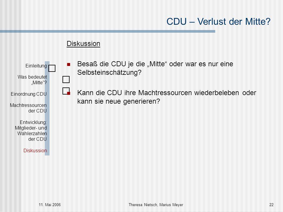 """CDU – Verlust der Mitte? 11. Mai 2006Theresa Nietsch, Marius Meyer22 Diskussion Besaß die CDU je die """"Mitte"""" oder war es nur eine Selbsteinschätzung?"""
