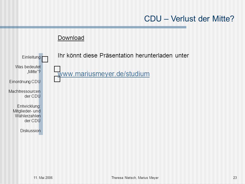CDU – Verlust der Mitte? 11. Mai 2006Theresa Nietsch, Marius Meyer23 Download Ihr könnt diese Präsentation herunterladen unter www.mariusmeyer.de/stud