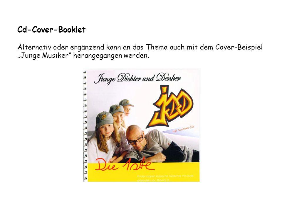"""Cd-Cover-Booklet Alternativ oder ergänzend kann an das Thema auch mit dem Cover-Beispiel """"Junge Musiker"""" herangegangen werden."""