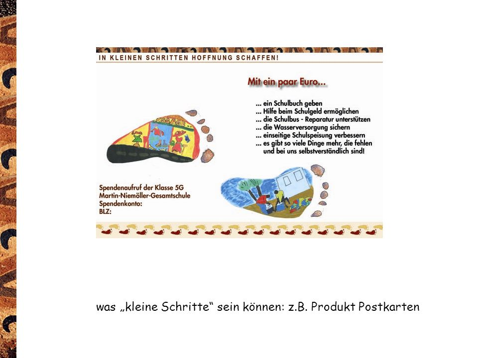"""was """"kleine Schritte"""" sein können: z.B. Produkt Postkarten"""