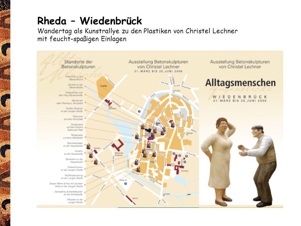 Rheda – Wiedenbrück Wandertag als Kunstrallye zu den Plastiken von Christel Lechner mit feucht-spaßigen Einlagen