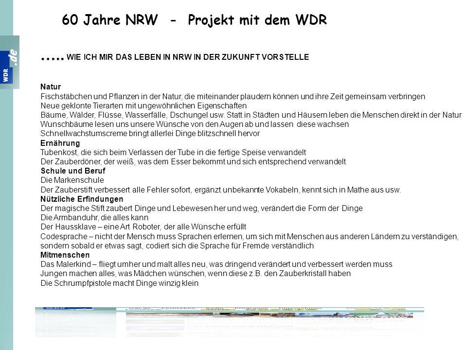 60 Jahre NRW - Projekt mit dem WDR ….. WIE ICH MIR DAS LEBEN IN NRW IN DER ZUKUNFT VORSTELLE Natur Fischstäbchen und Pflanzen in der Natur, die mitein