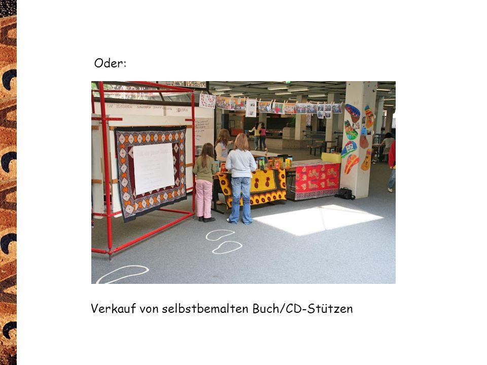 Verkauf von selbstbemalten Buch/CD-Stützen Oder: