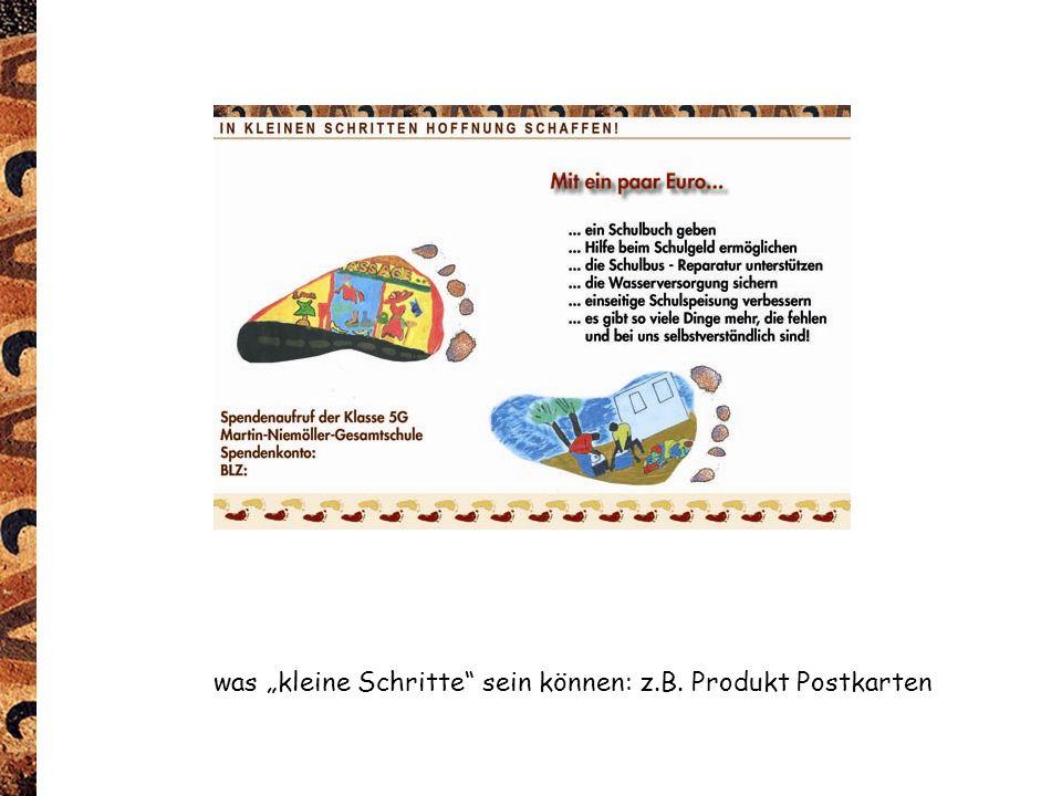 """was """"kleine Schritte sein können: z.B. Produkt Postkarten"""