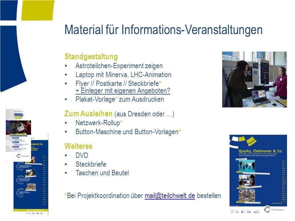 Material für Informations-Veranstaltungen Standgestaltung Astroteilchen-Experiment zeigen Laptop mit Minerva, LHC-Animation Flyer // Postkarte // Stec
