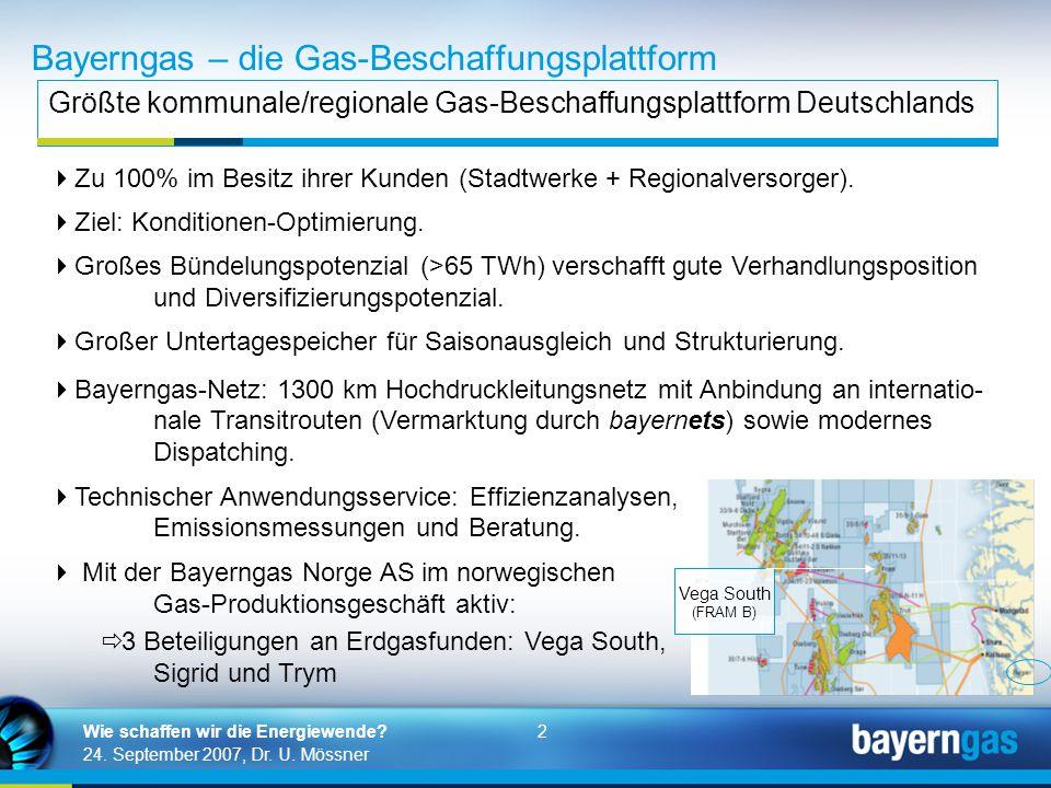 2 24. September 2007, Dr. U. Mössner Wie schaffen wir die Energiewende? Bayerngas – die Gas-Beschaffungsplattform Größte kommunale/regionale Gas-Besch