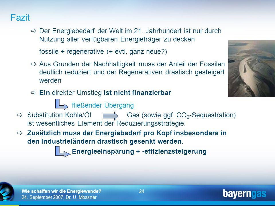 24 24. September 2007, Dr. U. Mössner Wie schaffen wir die Energiewende?  Der Energiebedarf der Welt im 21. Jahrhundert ist nur durch Nutzung aller v