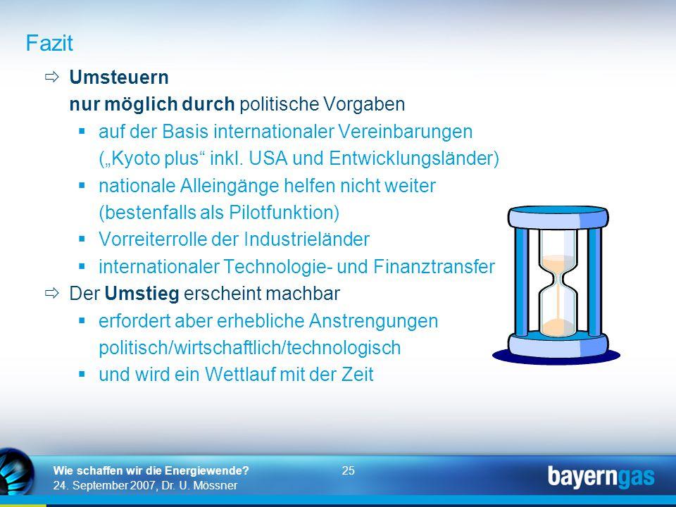 25 24. September 2007, Dr. U. Mössner Wie schaffen wir die Energiewende?  Umsteuern nur möglich durch politische Vorgaben  auf der Basis internation