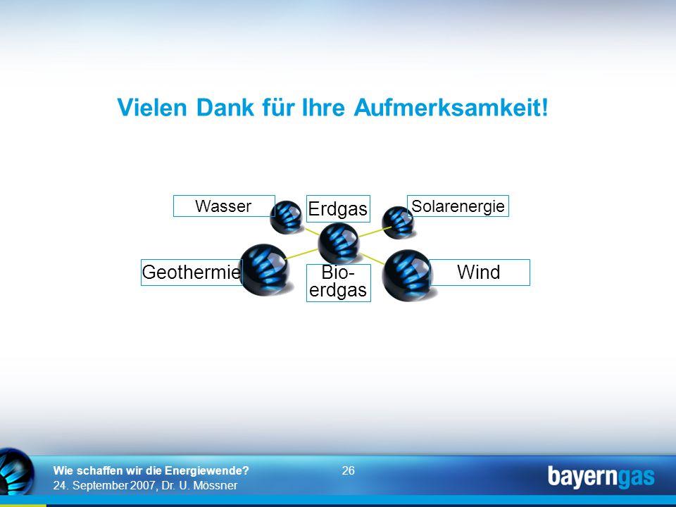 26 24. September 2007, Dr. U. Mössner Wie schaffen wir die Energiewende? Vielen Dank für Ihre Aufmerksamkeit! Erdgas Bio- erdgas Solarenergie Wind Was