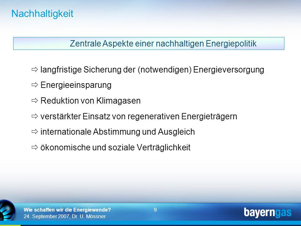 9 24. September 2007, Dr. U. Mössner Wie schaffen wir die Energiewende? Nachhaltigkeit  langfristige Sicherung der (notwendigen) Energieversorgung 