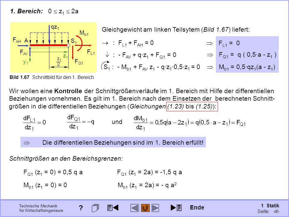 Technische Mechanik für Wirtschaftsingenieure 1 Statik Seite: 100  F Q1 = q ( 0,5·a - z 1 ) A z1z1 y1y1 F AH F AV S1S1 Bild 1.67 Schnittbild für den 1.