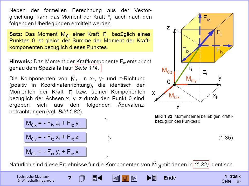 Technische Mechanik für Wirtschaftsingenieure 1 Statik Seite: 116 yiyi xixi zizi FiFi x y z 0 riri F iy F iz F ix Hinweis: Das Moment der Kraftkomponente F iz entspricht genau dem Spezialfall auf Seite 114.