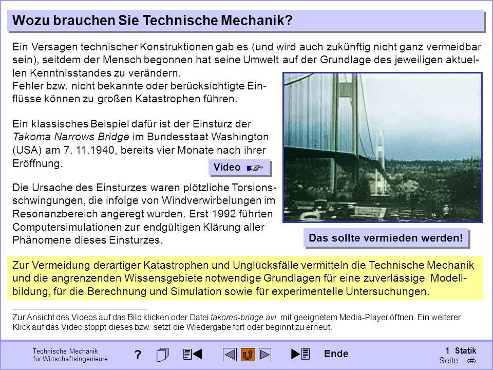 Technische Mechanik für Wirtschaftsingenieure 1 Statik Seite: 14 Ein klassisches Beispiel dafür ist der Einsturz der Takoma Narrows Bridge im Bundesstaat Washington (USA) am 7.