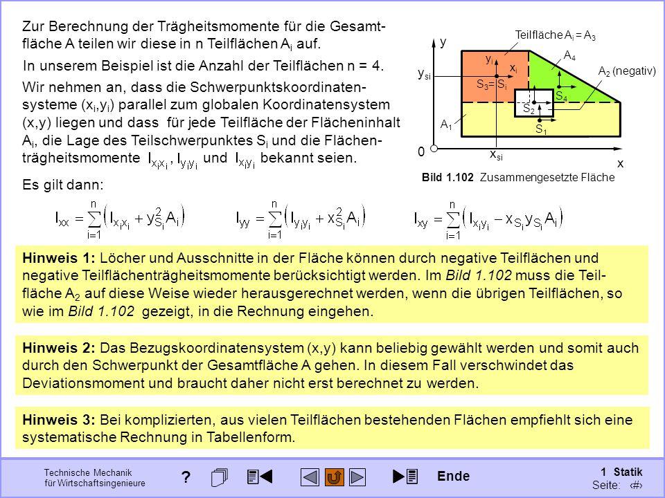 Technische Mechanik für Wirtschaftsingenieure 1 Statik Seite: 147 x y 0 Fläche A Bild 1.102 Zusammengesetzte Fläche A1A1 S1S1 S4S4 A4A4 x si y si yiyi S 3 = S i xixi Teilfläche A i = A 3 A 2 (negativ) S2S2 Zur Berechnung der Trägheitsmomente für die Gesamt- fläche A teilen wir diese in n Teilflächen A i auf.