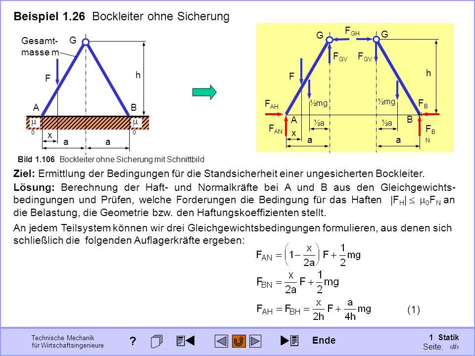 Technische Mechanik für Wirtschaftsingenieure 1 Statik Seite: 152 a x F G A a B h G ½mg ½a½a½a½a Beispiel 1.26 Bockleiter ohne Sicherung Ziel: Ermittlung der Bedingungen für die Standsicherheit einer ungesicherten Bockleiter.