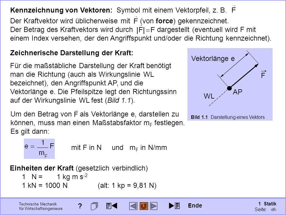 Technische Mechanik für Wirtschaftsingenieure 1 Statik Seite: 17 Kennzeichnung von Vektoren: Symbol mit einem Vektorpfeil, z.