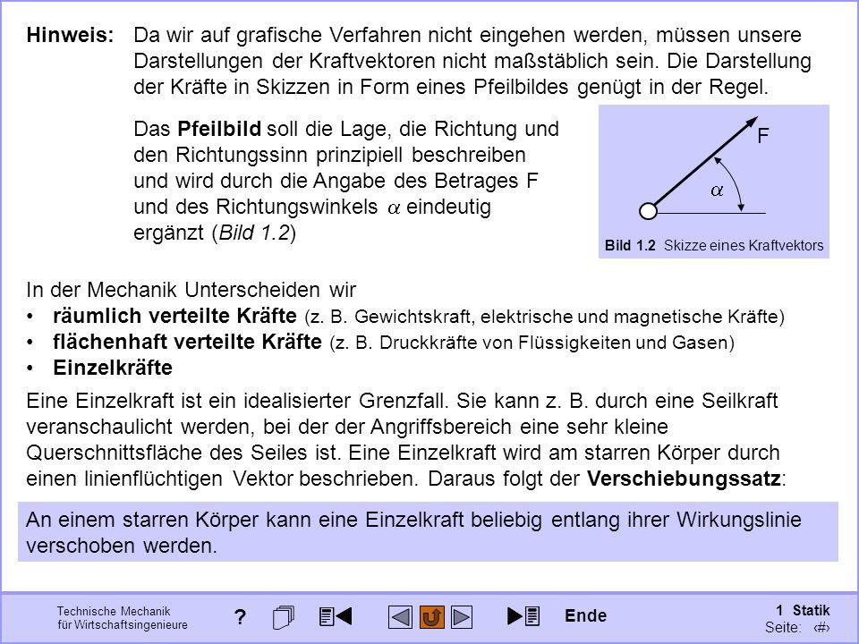 Technische Mechanik für Wirtschaftsingenieure 1 Statik Seite: 18 Hinweis: Da wir auf grafische Verfahren nicht eingehen werden, müssen unsere Darstellungen der Kraftvektoren nicht maßstäblich sein.