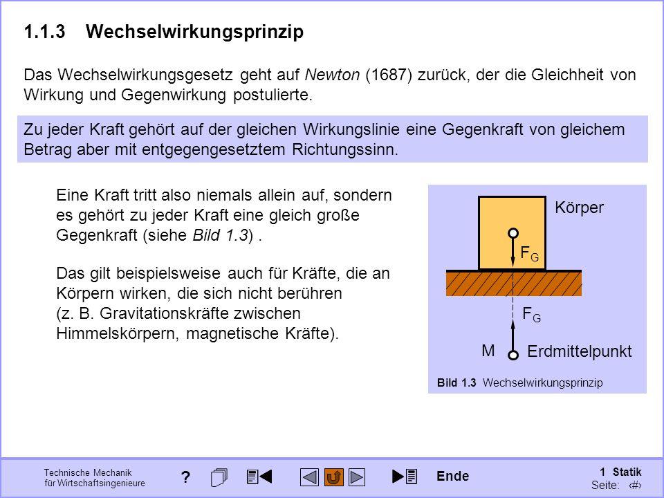 Technische Mechanik für Wirtschaftsingenieure 1 Statik Seite: 19 1.1.3Wechselwirkungsprinzip Das Wechselwirkungsgesetz geht auf Newton (1687) zurück, der die Gleichheit von Wirkung und Gegenwirkung postulierte.