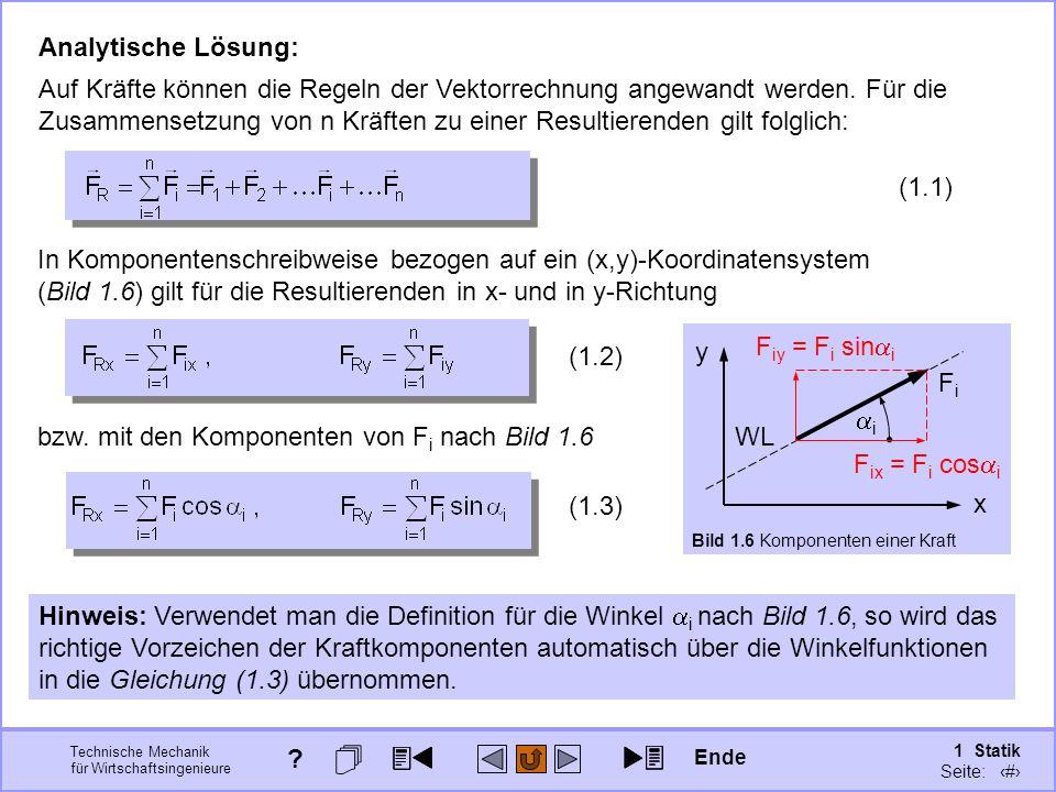Technische Mechanik für Wirtschaftsingenieure 1 Statik Seite: 26 Analytische Lösung: Auf Kräfte können die Regeln der Vektorrechnung angewandt werden.