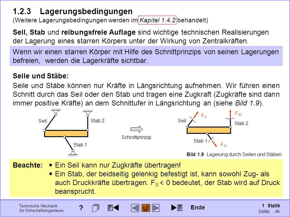 Technische Mechanik für Wirtschaftsingenieure 1 Statik Seite: 32 Beachte:  Ein Seil kann nur Zugkräfte übertragen.