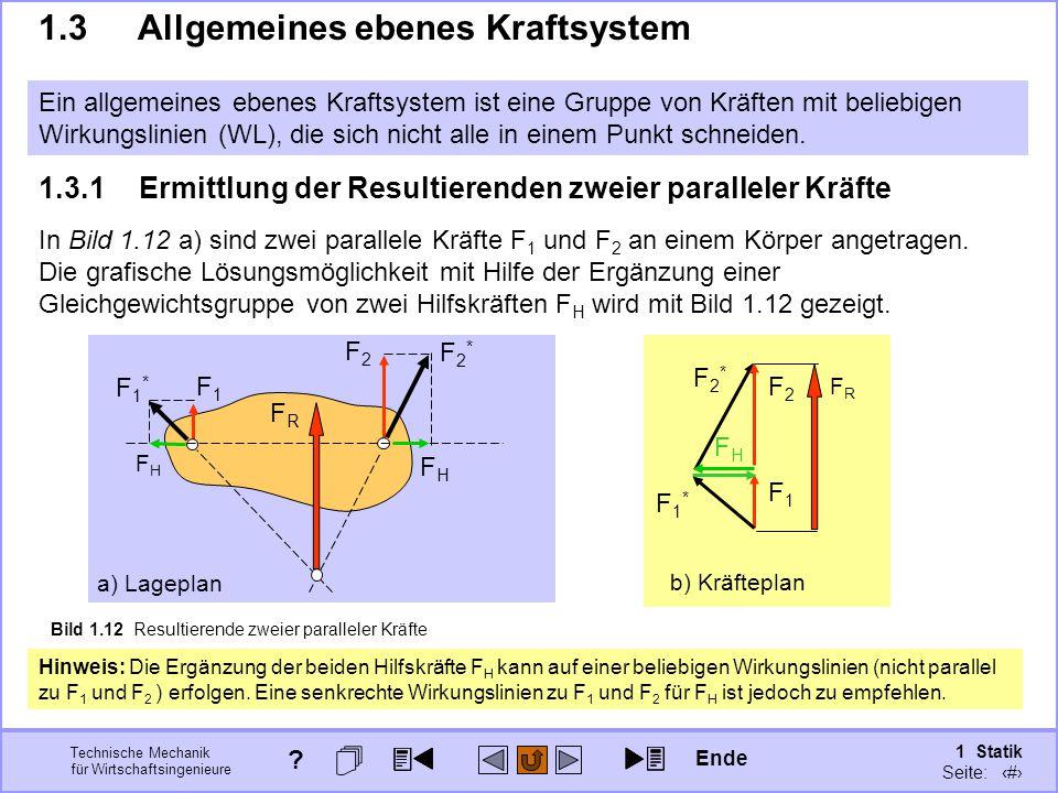 Technische Mechanik für Wirtschaftsingenieure 1 Statik Seite: 36 b) Kräfteplan F1F1 Bild 1.12 Resultierende zweier paralleler Kräfte a) Lageplan F1F1 F2F2 1.3.1Ermittlung der Resultierenden zweier paralleler Kräfte In Bild 1.12 a) sind zwei parallele Kräfte F 1 und F 2 an einem Körper angetragen.