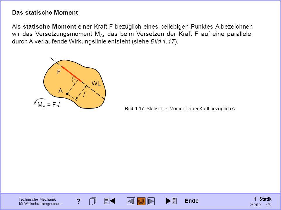 Technische Mechanik für Wirtschaftsingenieure 1 Statik Seite: 41 Als statische Moment einer Kraft F bezüglich eines beliebigen Punktes A bezeichnen wir das Versetzungsmoment M A, das beim Versetzen der Kraft F auf eine parallele, durch A verlaufende Wirkungslinie entsteht (siehe Bild 1.17).