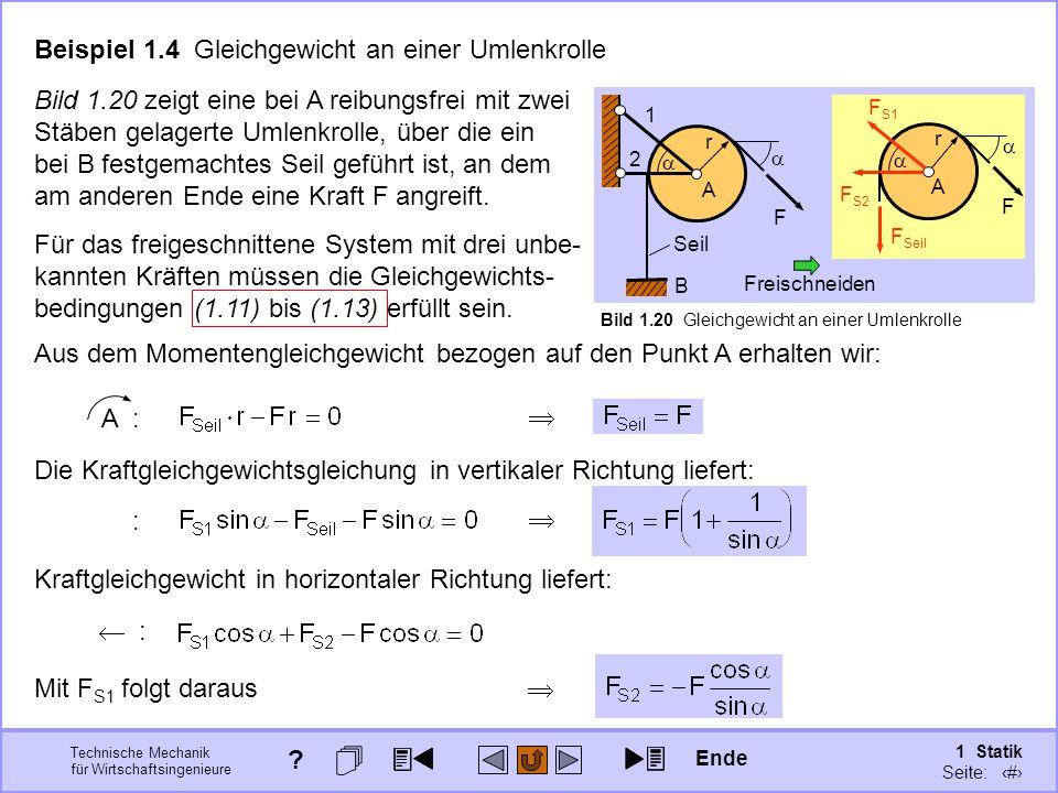 Technische Mechanik für Wirtschaftsingenieure 1 Statik Seite: 45 Beispiel 1.4 Gleichgewicht an einer Umlenkrolle Bild 1.20 zeigt eine bei A reibungsfrei mit zwei Stäben gelagerte Umlenkrolle, über die ein bei B festgemachtes Seil geführt ist, an dem am anderen Ende eine Kraft F angreift.