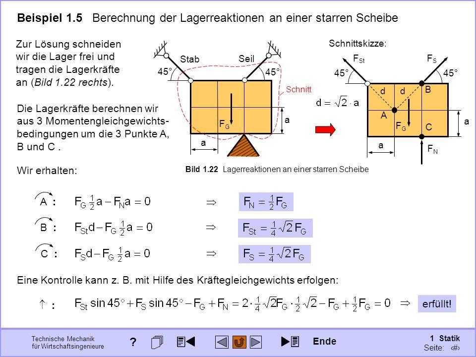 Technische Mechanik für Wirtschaftsingenieure 1 Statik Seite: 48 Eine Kontrolle kann z.