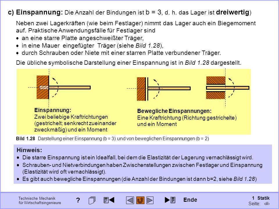 Technische Mechanik für Wirtschaftsingenieure 1 Statik Seite: 54 c) Einspannung: Die Anzahl der Bindungen ist b = 3, d.