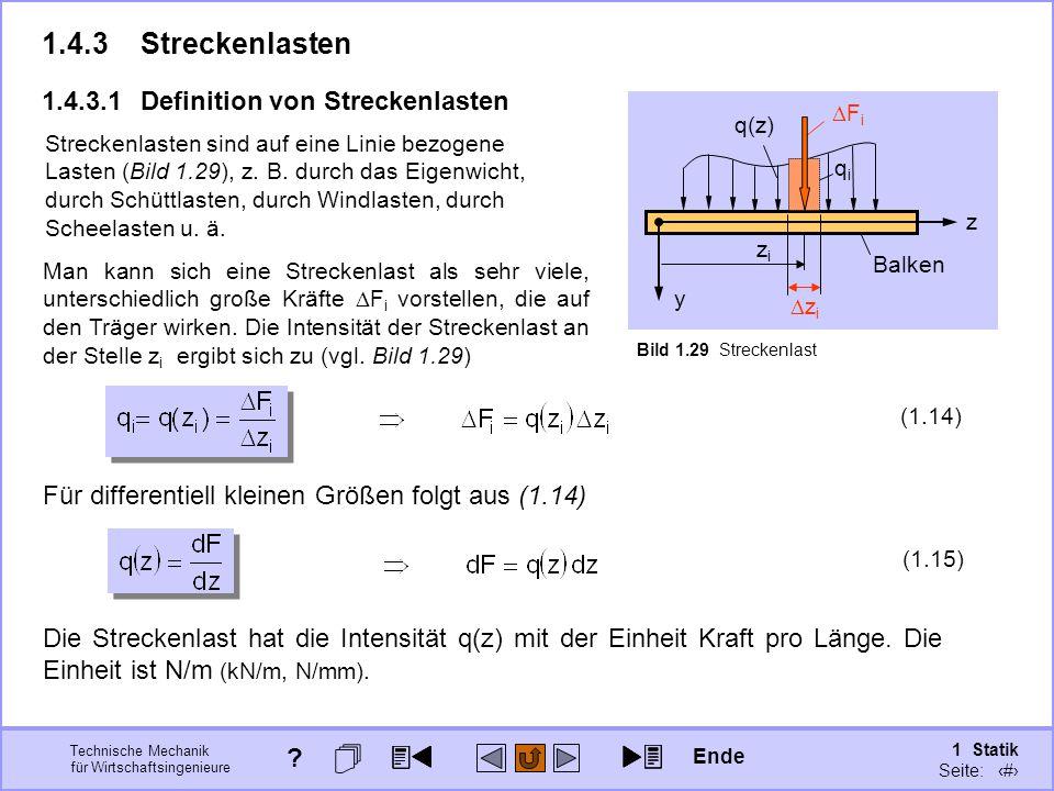Technische Mechanik für Wirtschaftsingenieure 1 Statik Seite: 55 1.4.3Streckenlasten Man kann sich eine Streckenlast als sehr viele, unterschiedlich große Kräfte  F i vorstellen, die auf den Träger wirken.