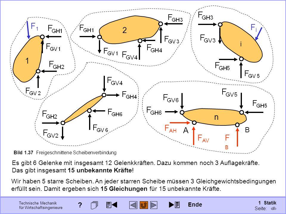 Technische Mechanik für Wirtschaftsingenieure 1 Statik Seite: 63 2 Es gibt 6 Gelenke mit insgesamt 12 Gelenkkräften.