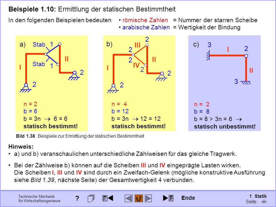 Technische Mechanik für Wirtschaftsingenieure 1 Statik Seite: 65 a) I Bild 1.38 Beispiele zur Ermittlung der statischen Bestimmtheit I c) b) I n = 2 b = 6 b = 3n  6 = 6 statisch bestimmt.