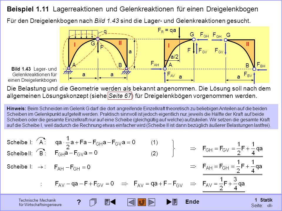 Technische Mechanik für Wirtschaftsingenieure 1 Statik Seite: 70 G A B F q I II a a a Bild 1.43 Lager- und Gelenkreaktionen für einen Dreigelenkbogen A G F I a F R = qa a/2 B G II a Beispiel 1.11 Lagerreaktionen und Gelenkreaktionen für einen Dreigelenkbogen Für den Dreigelenkbogen nach Bild 1.43 sind die Lager- und Gelenkreaktionen gesucht.