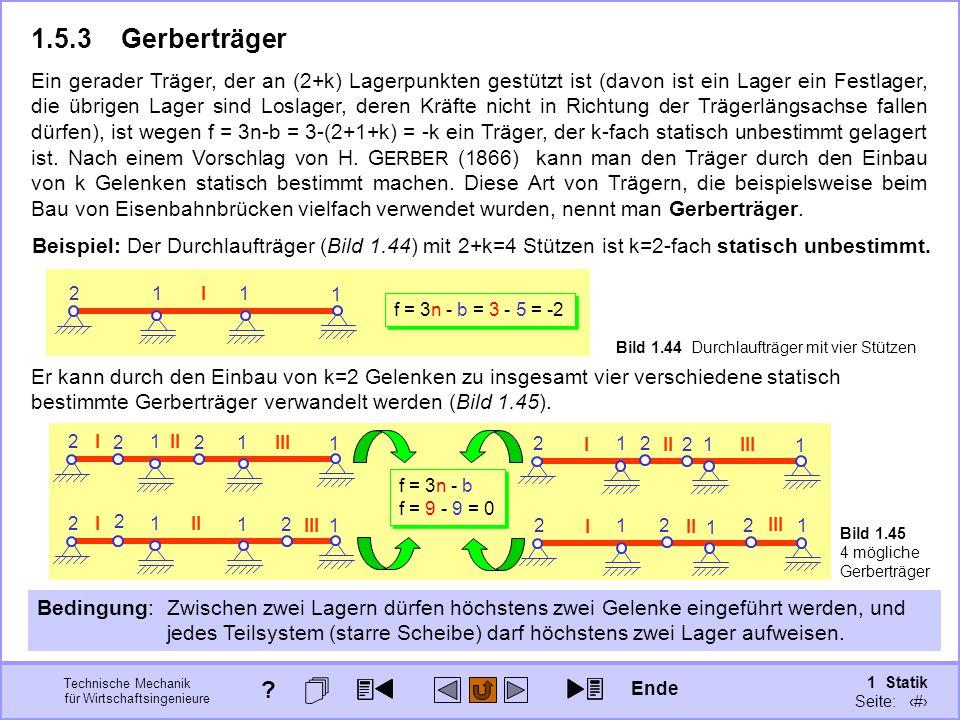 Technische Mechanik für Wirtschaftsingenieure 1 Statik Seite: 72 Bild 1.45 4 mögliche Gerberträger Bild 1.44 Durchlaufträger mit vier Stützen Beispiel: Der Durchlaufträger (Bild 1.44) mit 2+k=4 Stützen ist k=2-fach statisch unbestimmt.