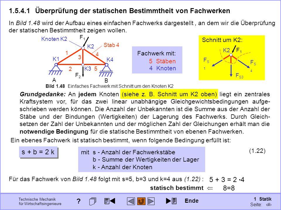 Technische Mechanik für Wirtschaftsingenieure 1 Statik Seite: 80 1.5.4.1Überprüfung der statischen Bestimmtheit von Fachwerken Fachwerk mit: 5 Stäben 4 Knoten K2 FS4FS4 F S3 FS1FS1 Schnitt um K2: Grundgedanke: An jedem Knoten (siehe z.