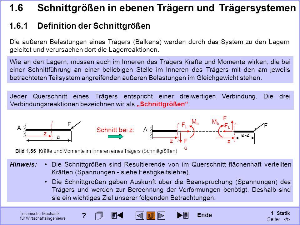 Technische Mechanik für Wirtschaftsingenieure 1 Statik Seite: 88 1.6Schnittgrößen in ebenen Trägern und Trägersystemen 1.6.1Definition der Schnittgrößen Ende .