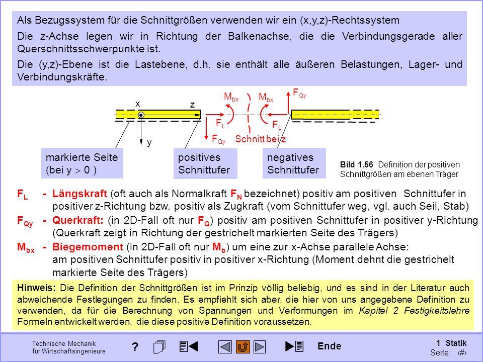 Technische Mechanik für Wirtschaftsingenieure 1 Statik Seite: 89 Bild 1.56 Definition der positiven Schnittgrößen am ebenen Träger y z x Als Bezugssystem für die Schnittgrößen verwenden wir ein (x,y,z)-Rechtssystem F Qy -Querkraft: (in 2D-Fall oft nur F Q ) positiv am positiven Schnittufer in positiver y-Richtung (Querkraft zeigt in Richtung der gestrichelt markierten Seite des Trägers) F L - Längskraft (oft auch als Normalkraft F N bezeichnet) positiv am positiven Schnittufer in positiver z-Richtung bzw.