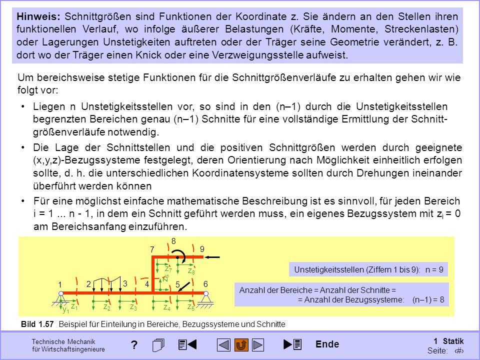 Technische Mechanik für Wirtschaftsingenieure 1 Statik Seite: 90 Bild 1.57 Beispiel für Einteilung in Bereiche, Bezugssysteme und Schnitte Hinweis: Schnittgrößen sind Funktionen der Koordinate z.