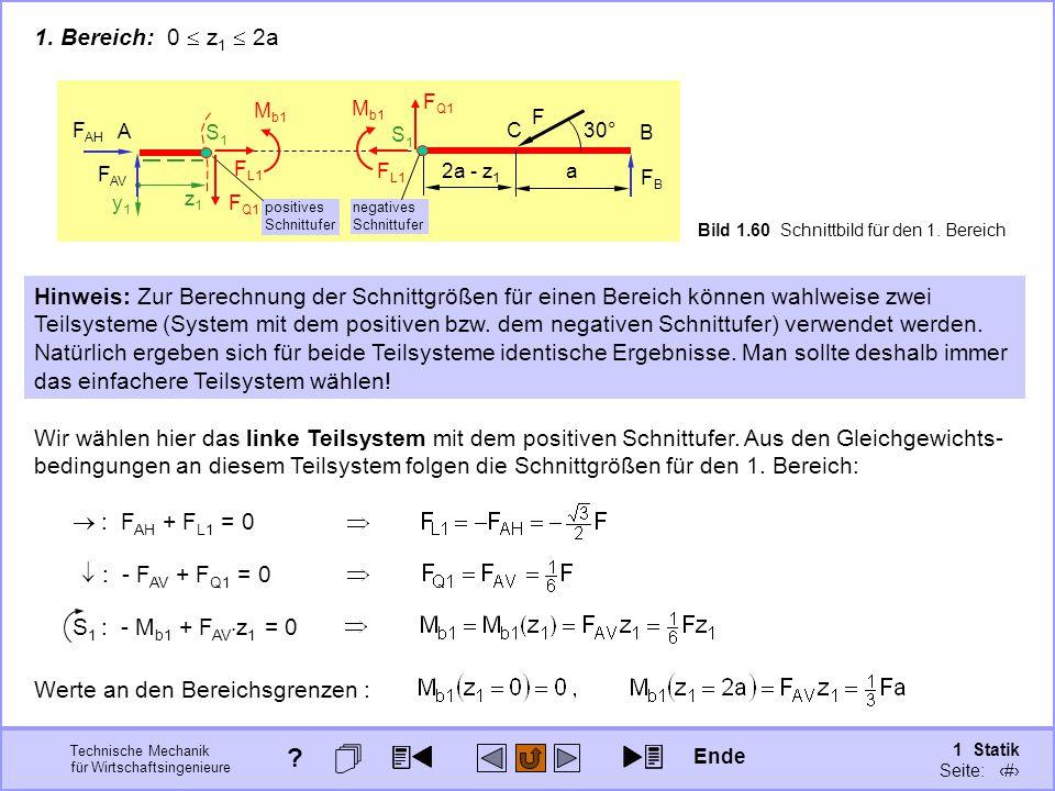 Technische Mechanik für Wirtschaftsingenieure 1 Statik Seite: 92 Werte an den Bereichsgrenzen : 1.