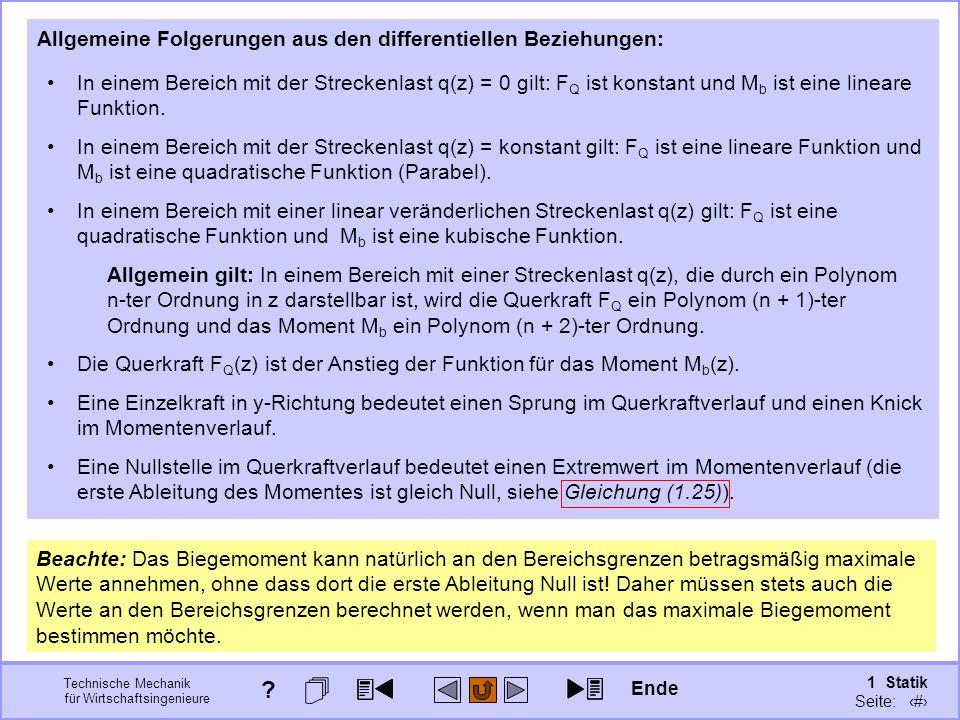 Technische Mechanik für Wirtschaftsingenieure 1 Statik Seite: 97 Allgemeine Folgerungen aus den differentiellen Beziehungen: In einem Bereich mit der Streckenlast q(z) = 0 gilt: F Q ist konstant und M b ist eine lineare Funktion.