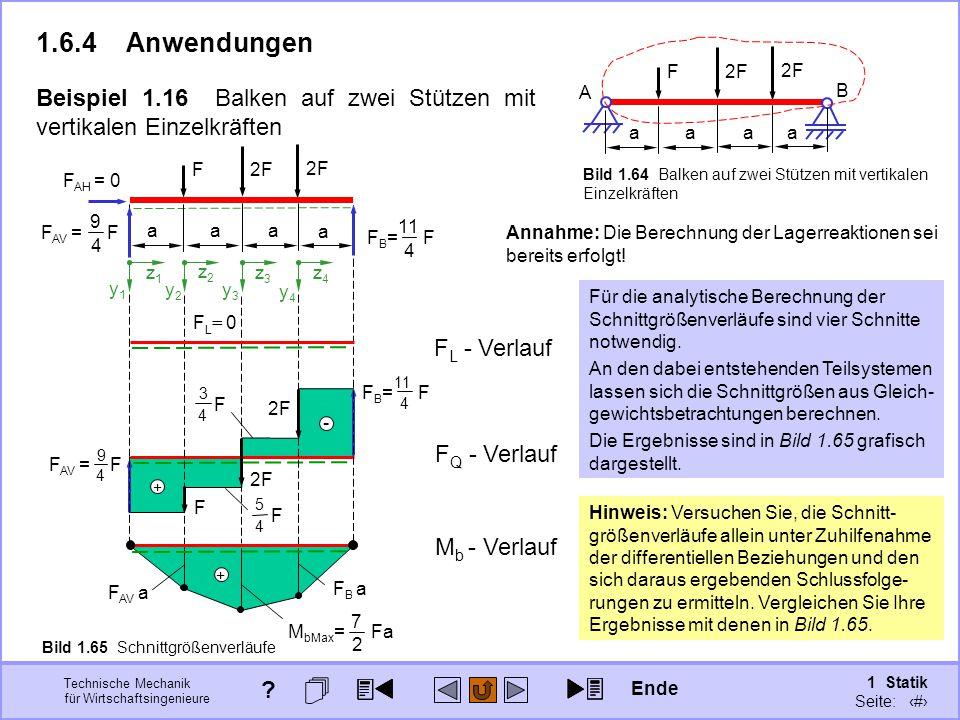 Technische Mechanik für Wirtschaftsingenieure 1 Statik Seite: 98 + 9 4 F AV = F 11 4 F B = F - + F 3 4 F 5 4 Beispiel 1.16 Balken auf zwei Stützen mit vertikalen Einzelkräften 1.6.4Anwendungen F L = 0 a aaa F 2F A B F Q - Verlauf F AV a F B a 7 2 M bMax = Fa 2F F z1z1 y1y1 z2z2 y2y2 z3z3 y3y3 z4z4 y4y4 Bild 1.64 Balken auf zwei Stützen mit vertikalen Einzelkräften Annahme: Die Berechnung der Lagerreaktionen sei bereits erfolgt.