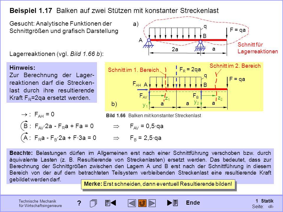 Technische Mechanik für Wirtschaftsingenieure 1 Statik Seite: 99 A B a a a q F = qa FBFB F AH F AV Bild 1.66 Balken mit konstanter Streckenlast b) Beachte: Belastungen dürfen im Allgemeinen erst nach einer Schnittführung verschoben bzw.