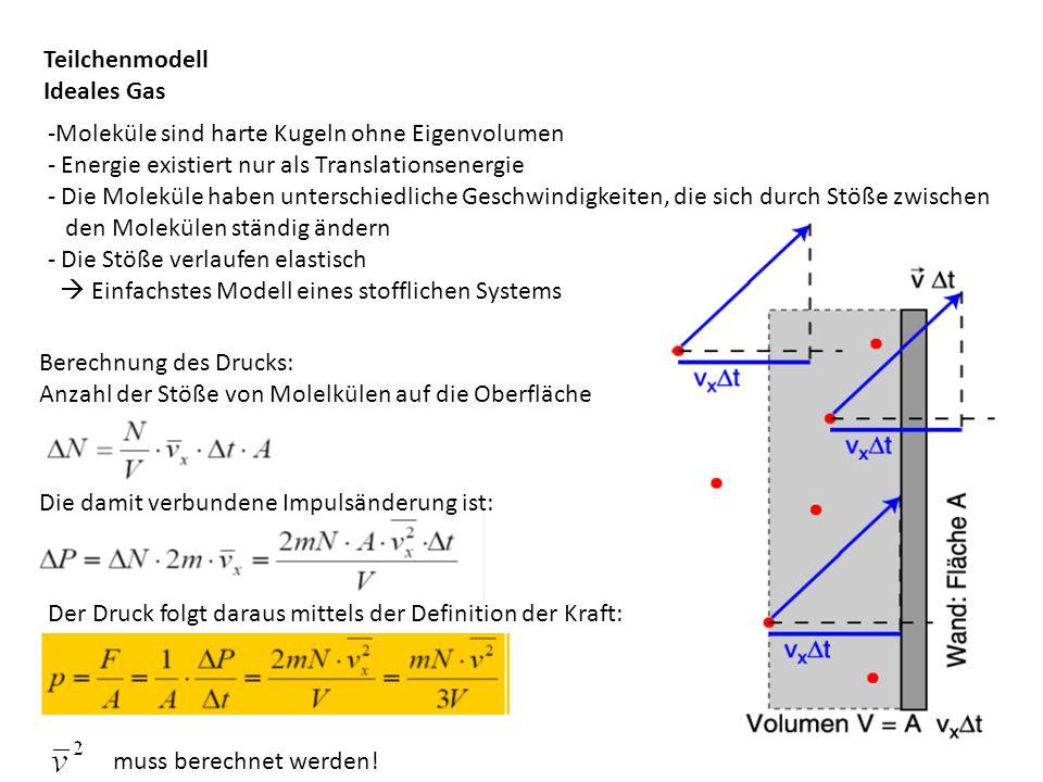 Berechnung des Drucks: Anzahl der Stöße von Molelkülen auf die Oberfläche Die damit verbundene Impulsänderung ist: Der Druck folgt daraus mittels der